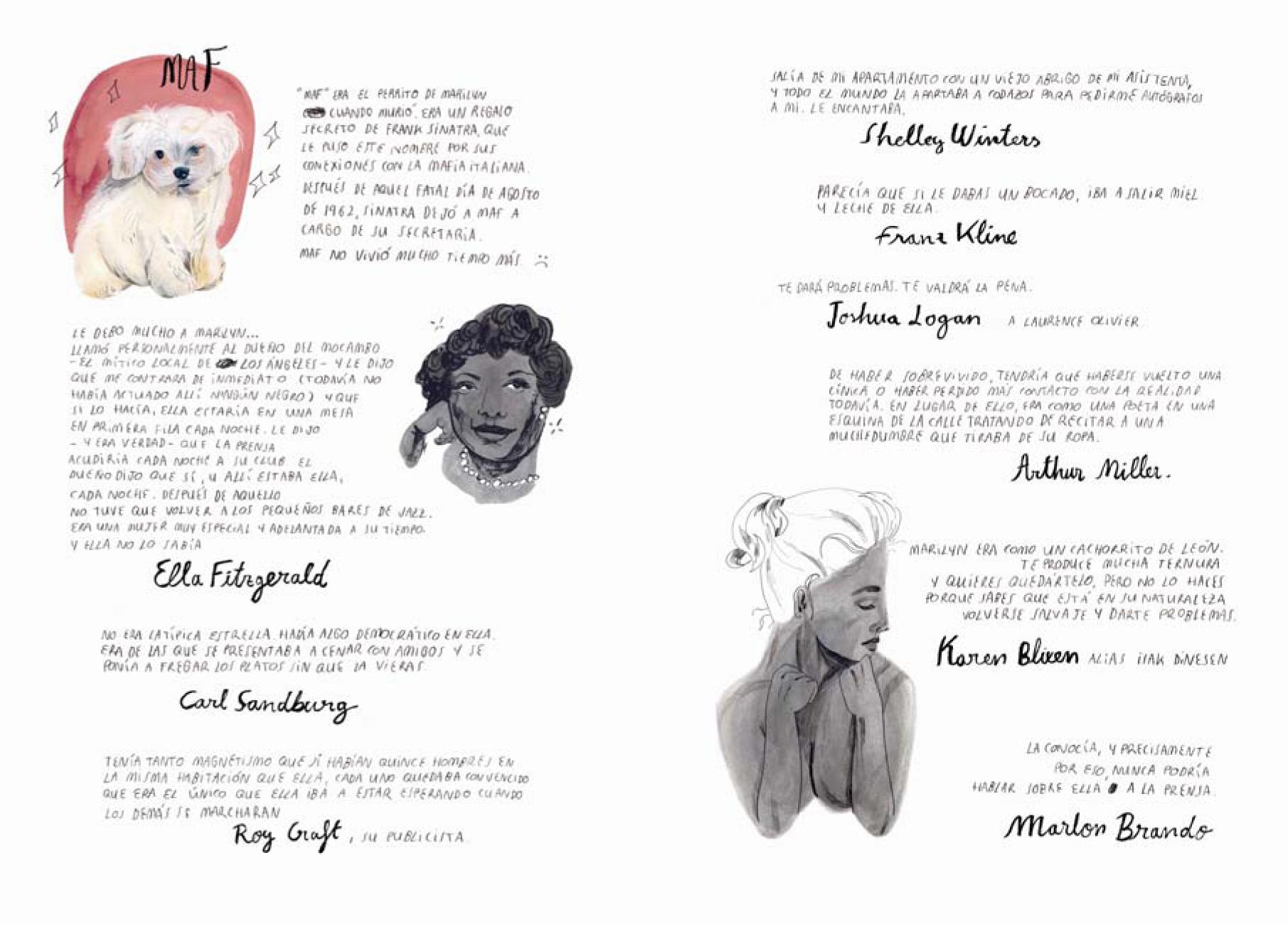 Pagina 100 con dedicada a Marilyn donde figura Maf.