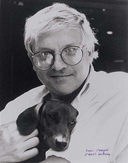 Autoretrato David Hockney con uno de sus teckel.