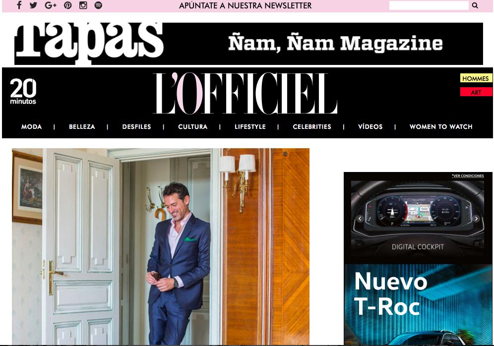 L'OFFICIEL, artículo la revista dedica a mi labora. Firma: Raquel Oliva. Fotos: David Suárez